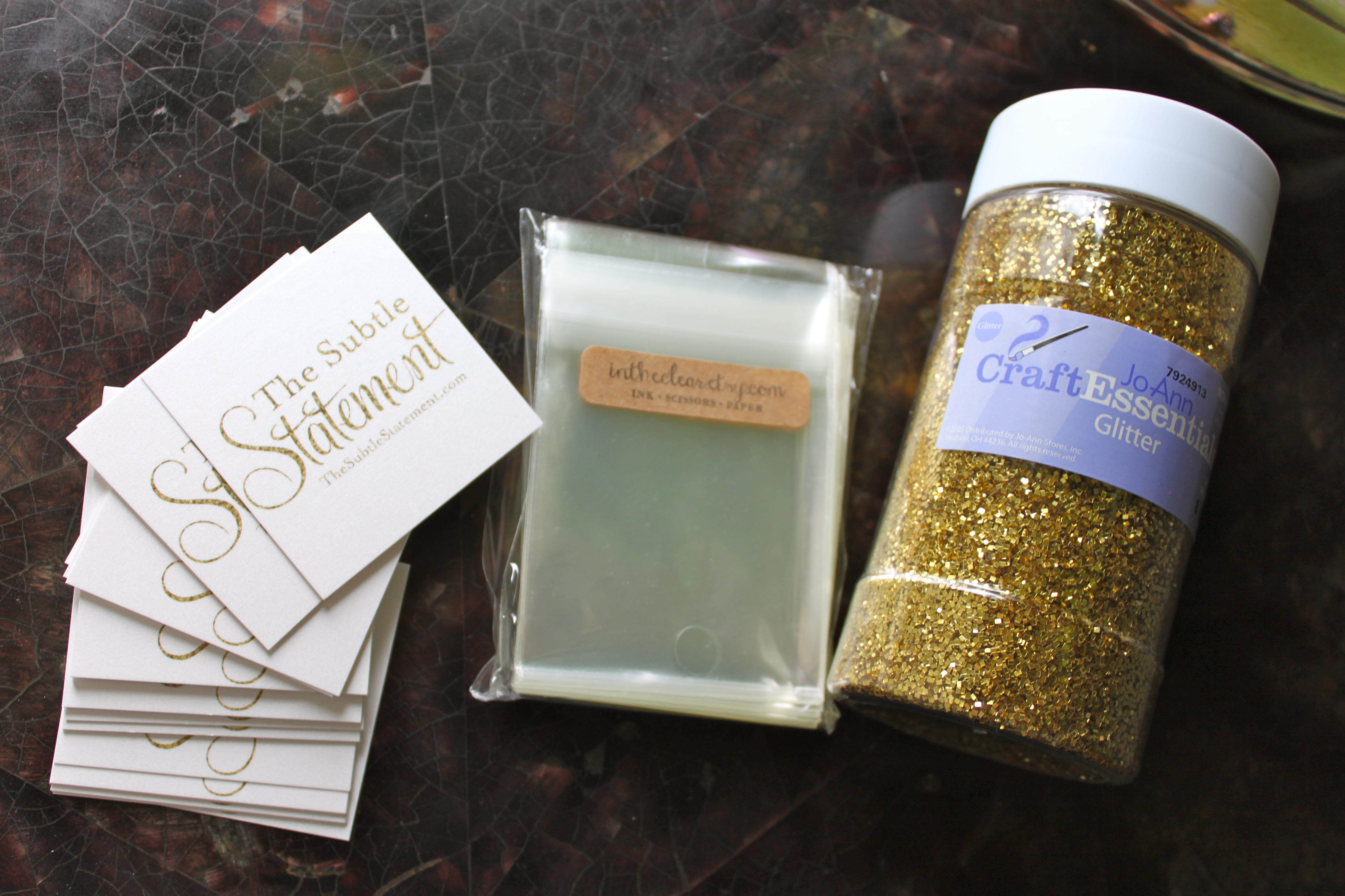 Weekend DIY Glitter Business Cards