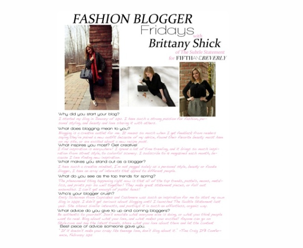 Fashion Blogger Fridays - Brittany Shick