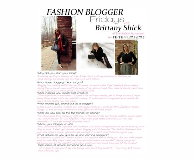 Fashion Blogger Fridays - Brittany Shick