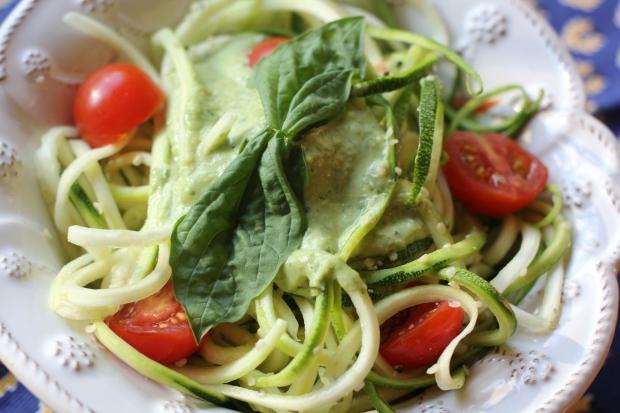 """Raw Zucchini """"Pasta"""" with Fresh Basil Pesto"""