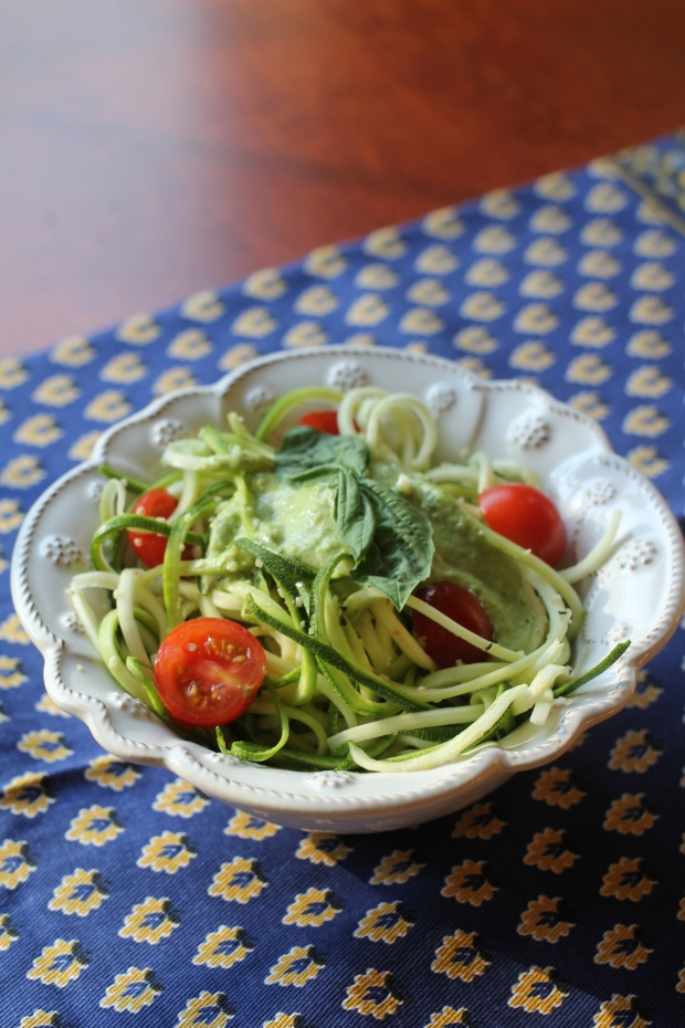 "Raw Zucchini ""Pasta"" with Fresh Basil Pesto"