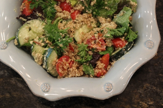 Quinoa Garden Salad with Creamy Basil Pumpkin Seed Dressing | TheSubtleStatement.com