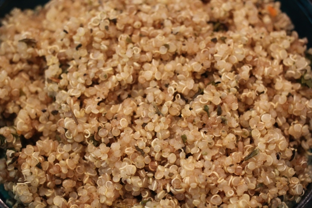 Quinoa Garden Salad with Creamy Basil Pumpkin Seed Dressing | TheSubtleStatement.com